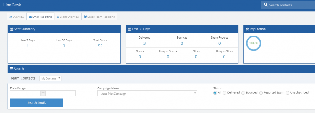 A screenshot of LionDesk's feature to review email reporting including a reputation score and other email analytics.