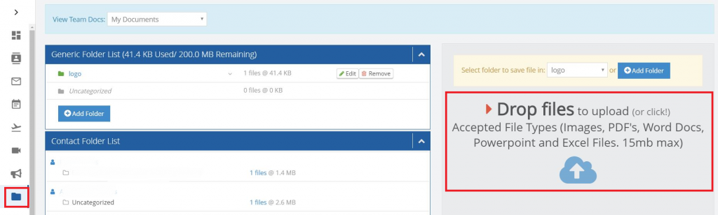 A product image of the upload documents feature from LionDesk.
