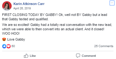 Testimonial quote about how Gabby (Lead Assist) was able to help them close a deal.