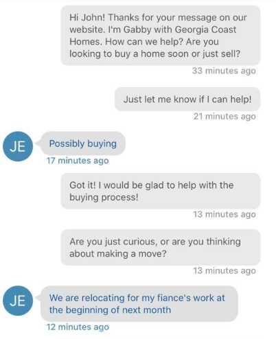 A conversation between a new lead and LionDesk's Lead Assist part one.