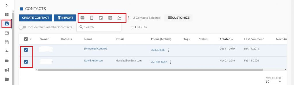 An image of LionDesk's product enhancement that allows users to select multiple contacts for bulk actions.
