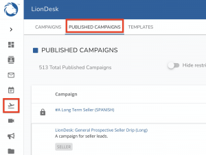 """Published Campaigns"" in LionDesk"