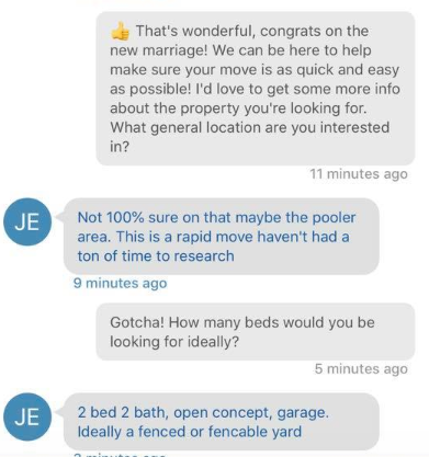 A conversation between a new lead and LionDesk's Lead Assist part two.