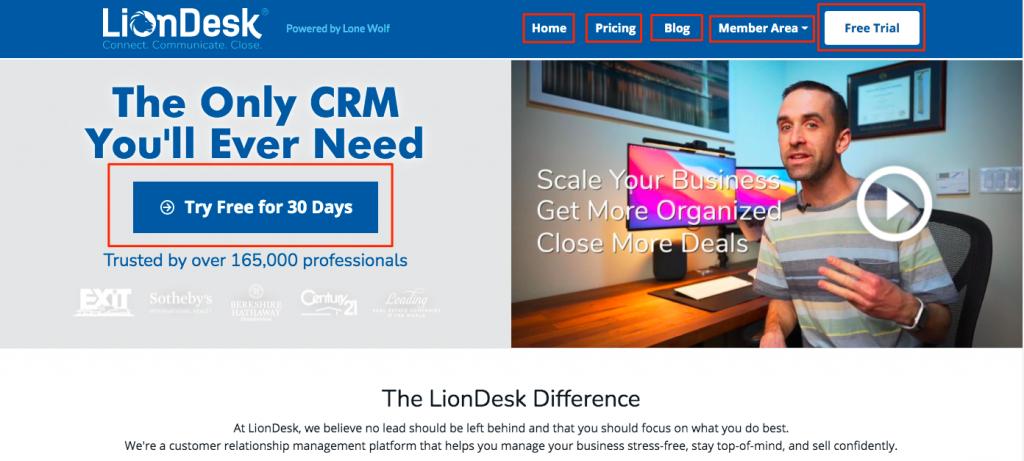 liondesk homepage links